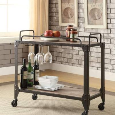 Caitlin Serving Cart with Rustic Oak & Black Finish - 98174