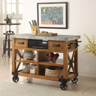 Kailey Kitchen Cart with Antique Oak Finish - 98182