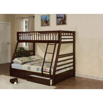 Jason Twin/Full Bunk Bed With Drawers in Honey Oak - 000706_kit