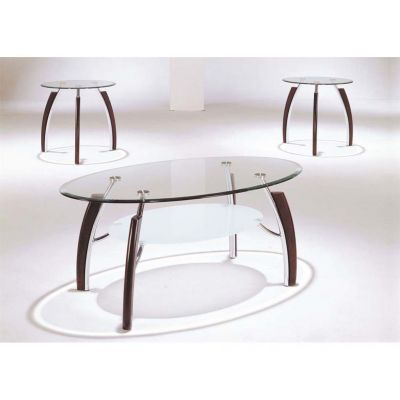 Martini 3 Piece Chrome Coffee Table in Brown Cherry - 000757_kit