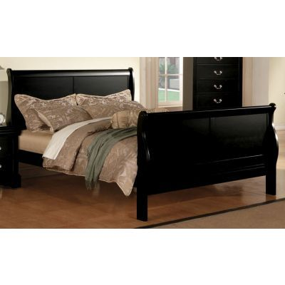 Louis Philippe III Queen Bed in Black - 000793_kit