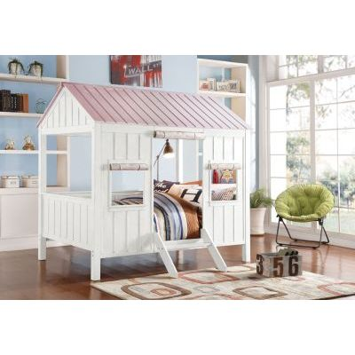 Spring Cottage Weathered White Pink House Full Bed - 000656_kit