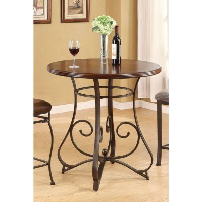 Tavio Walnut Dark Bronze Bar Table - 000720_kit