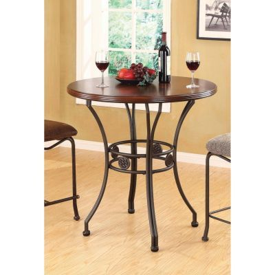 Tavio Walnut Dark Bronze Bar Table - 000716_kit