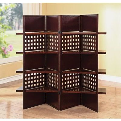 Trudy 4-Panel Dark Brown Wooden Screen with Shelves - 000708_kit