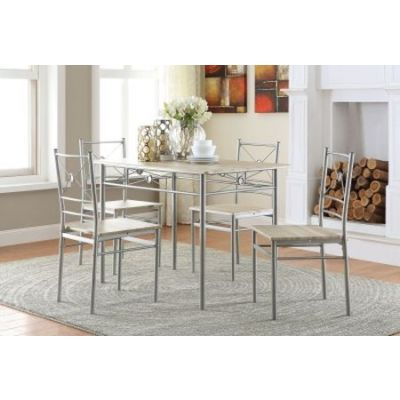 Brushed Silver Finish 5 Piece Stoneberry Dining Set