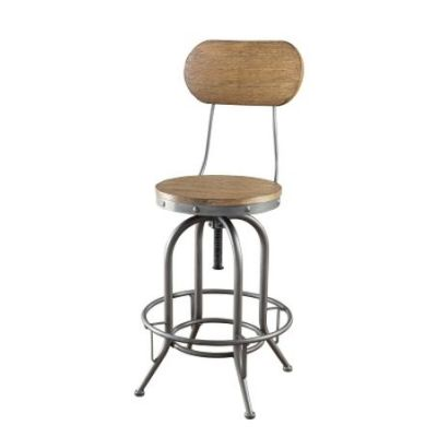 Adjustable Rustic Bar Stool in Brown