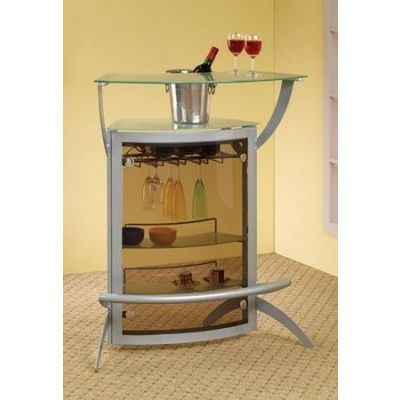 Glass Top Modular Bar Unit with Silver Metal Base - 100135
