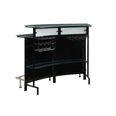 Arched Black Bar Table with Frosted Glass Top - 100139