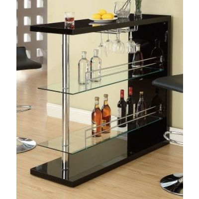 Black High Golss Bar Table with 2 Glass Shelves - 100165