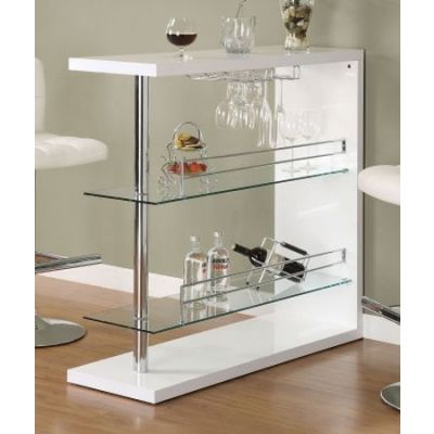 White High Golss Bar Table with 2 Glass Shelves