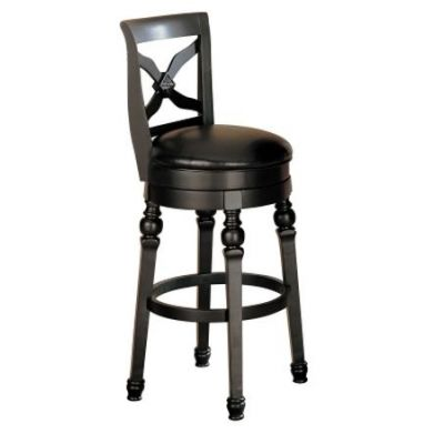 Swivel Bar Stool with Faux Leather Seat in Black