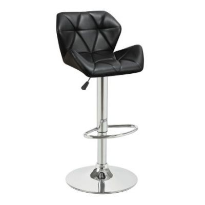 Black Adjustable Stool w/ Chrome Base