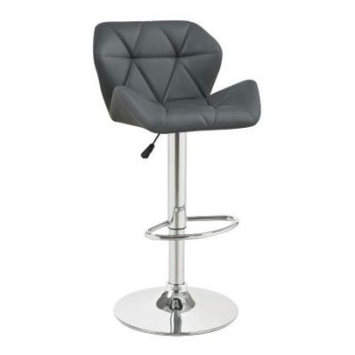 Gray Adjustable Stool with Chrome Base