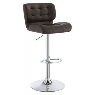 Upholstered Height Adjustable Bar Stool in Brown