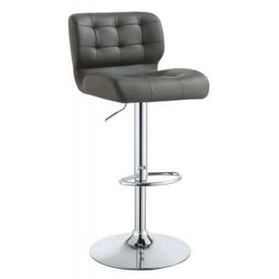 Upholstered Height Adjustable Bar Stool in Gray