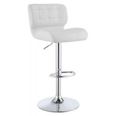 Upholstered Height Adjustable Bar Stool in White