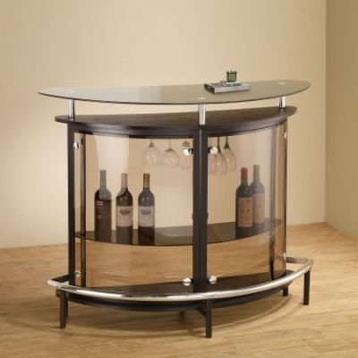 Contemporary Home Bar Unit with Smoked Acrylic Front - 101065