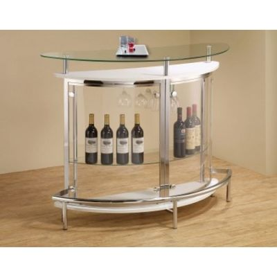 Contemporary Home Bar Unit with Clear Acrylic Front in White - 101066