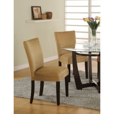 Gold Ochre Microfiber Parson Dining Side Chair Set of 2 - 101492