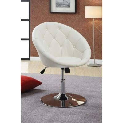 Contemporary Round Tufted White Swivel Chair - 102583