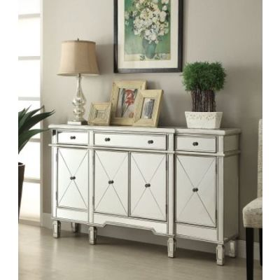 Mirror Sideboard with Wine Rack in Silver - 102595