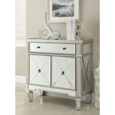 Mirror Accent Chest with Wine Rack in Silver - 102596