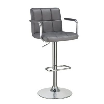 Adjustable Bar Stool with Grey Upholstery - 121096