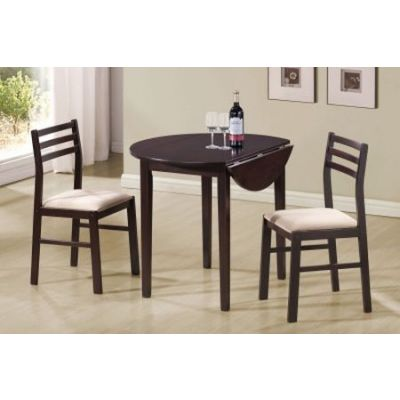 Dinettes Casual 3 Piece Table & Chair Set in Rich Cappuccino - 130005