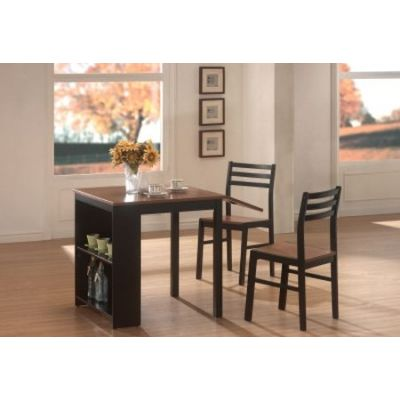 Persia 3 Piece Stoneberry Dining Set in Walnut and Black - 130015