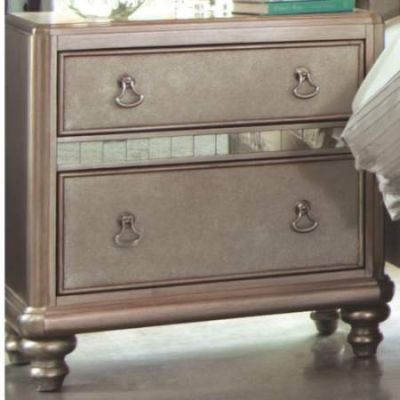 Bling Game Nightstand with 2 Drawers and Stacked Bun Feet - 204182