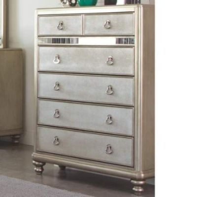 Bling Game Chest with 6 Drawers and Stacked Bun Feet - 204185