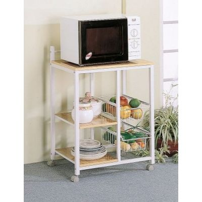 White Natural Shelves Storage Compartments Serving Cart - 2506