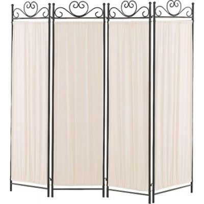 Four Panel Screen with Metal Frame & Gathered Fabric Panels - 2710
