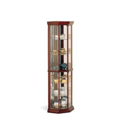 Corner Curio Cabinet in Medium Brown - 3393