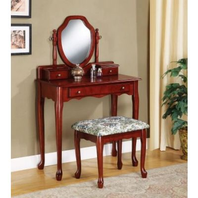 Vanity and Stool with Tapestry Fabric Seat - 3441