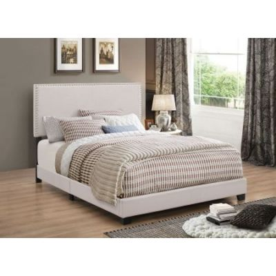 Espressso Upholstered Full Bed with Nailhead Trim - 350051F
