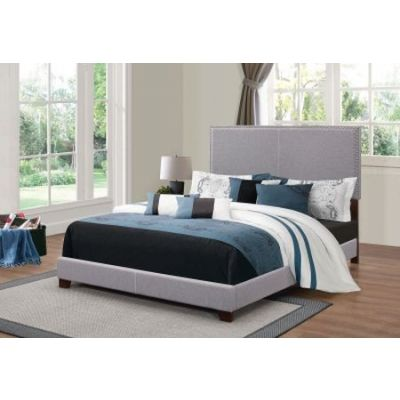 Charcoal Upholstered Cal King Bed with Nailhead Trim - 350071KW
