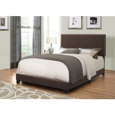 Brown Upholstered Cal King Bed with Nailhead Trim - 350081KW