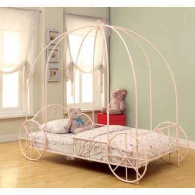 Massi Pink Twin Canopy Carriage Bed - 400155T