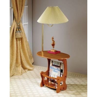 Magazine Table with Brass Swing Arm Lamp in Oak - 4501