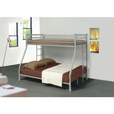 Denley Silver Metal Twin Full Bunk Bed - 460062