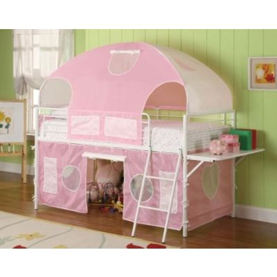 White Twin Loft Bed with Sweetheart Tent - 460202