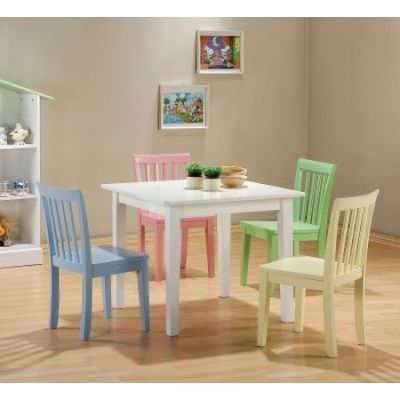 Kinzie 5 Piece White Table and Multicolor Chairs Set - 460235