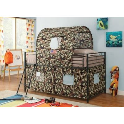 Green Camouflage Tent Twin Loft Bed - 460331