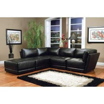 Kayson Bonded Leather Sectional in Black - 000128_Kit