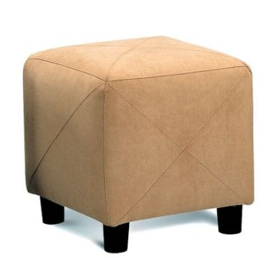 Contemporary Microfiber Cube Ottoman in Taupe - 500944