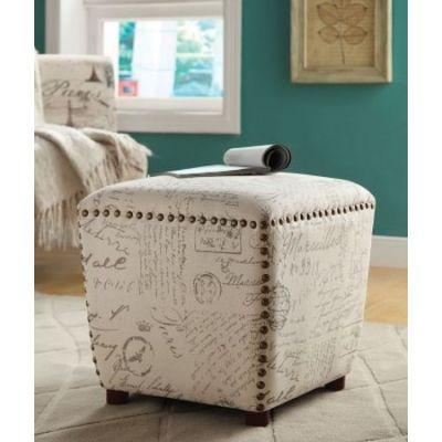 Off White Grey French Script Printed Fabric Stool - 501108