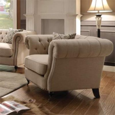 Trivellato Button Tufted Accent Aaron's Chair in Oatmeal - 505823