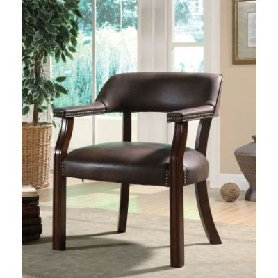 Traditional Vinyl Office Side Chair with Nailhead Trim - 513BRN